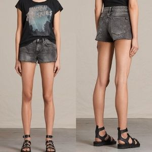 All Saints Lea Grey Frayed Mid Rise Cut Off Shorts